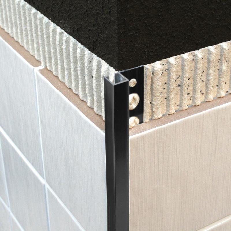genesis black powder coated aluminium square edge tile. Black Bedroom Furniture Sets. Home Design Ideas
