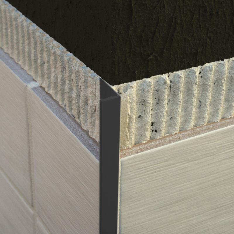 Plastic Straight Edge Tile Trim Black ESP