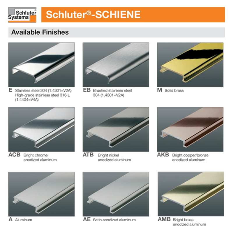 Schluter SCHIENE-E Straight Edge Stainless Steel V2A 2.5m Length | Buy ...